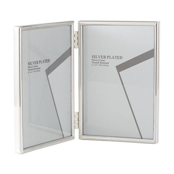 Silver Plated Folding Picture Frames 4 x 6""