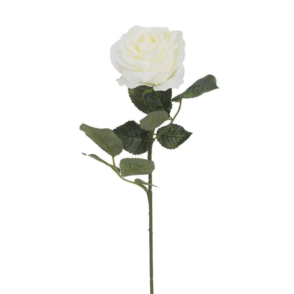 Artificial White Rose Flower - H 61 cm