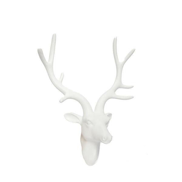 Wall Mountable White Deer Head Sculpture