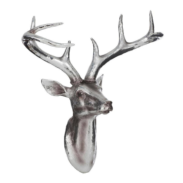 Wall Mounted Silver Deer Head