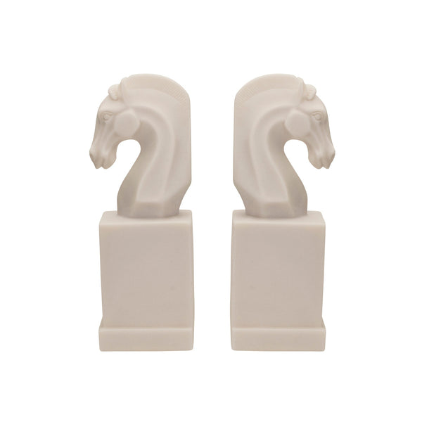 White Horse Head Bookends - Set of 2
