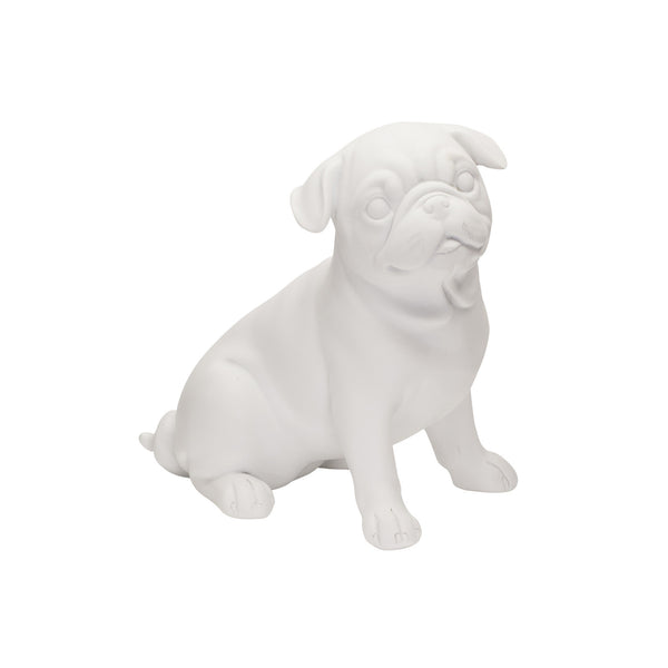 Adorable Pug Dog Ornament in White