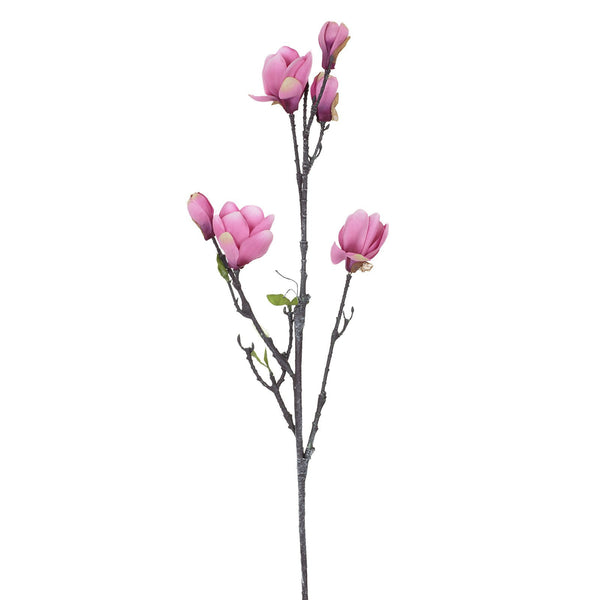 Artificial Rich Pink Magnolia Flower, Small Bloom H 84 cm