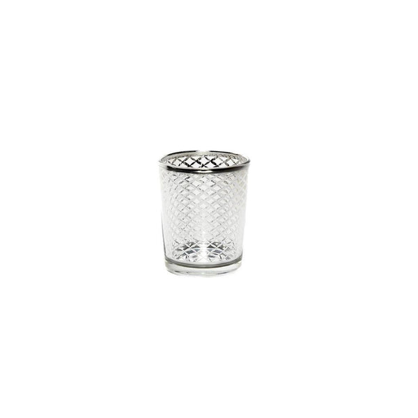 Votive Silver Glass Tea Light Candle Holder