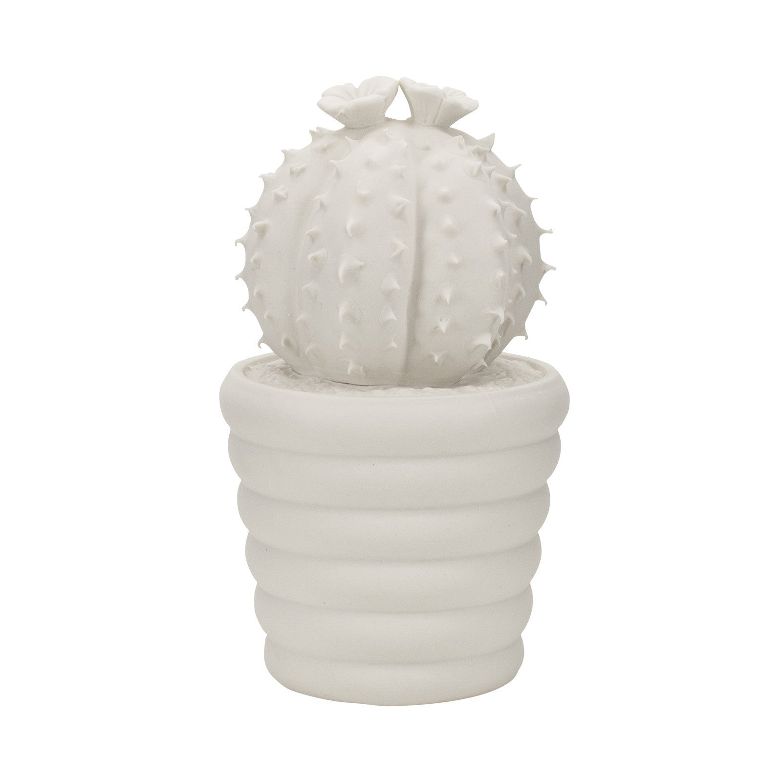 Prickly Melocactus Cactus Ornament in White