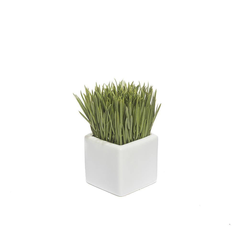 Artificial Green Grass in Square White Vase