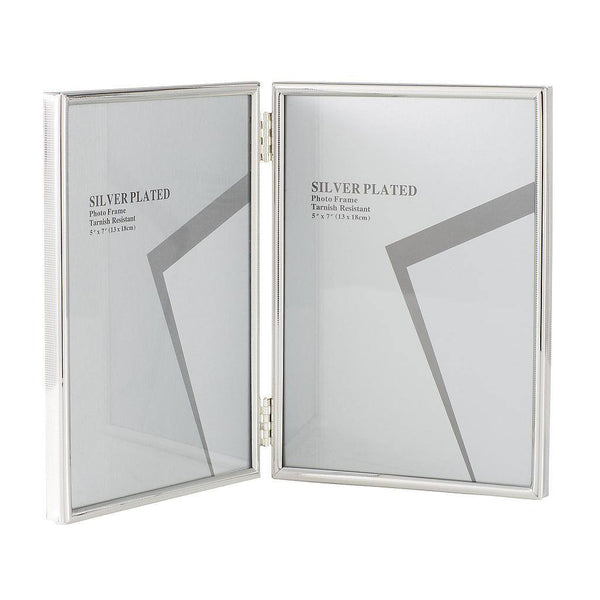 "Silver Plated Folding Picture Frames 5 x 7"", Medium"