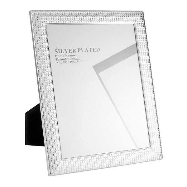 "Silver Plated Picture Frames, 5 x 7"", Silver Mosaic Tiles"