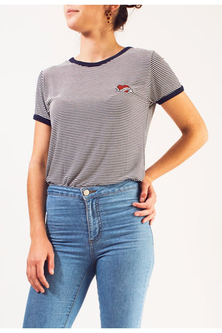 Weekend Ringer Top - Navy/White