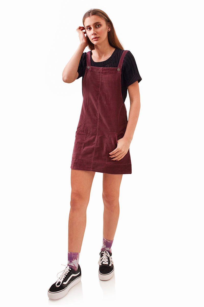 Flick Overall Pinafore - Burgundy