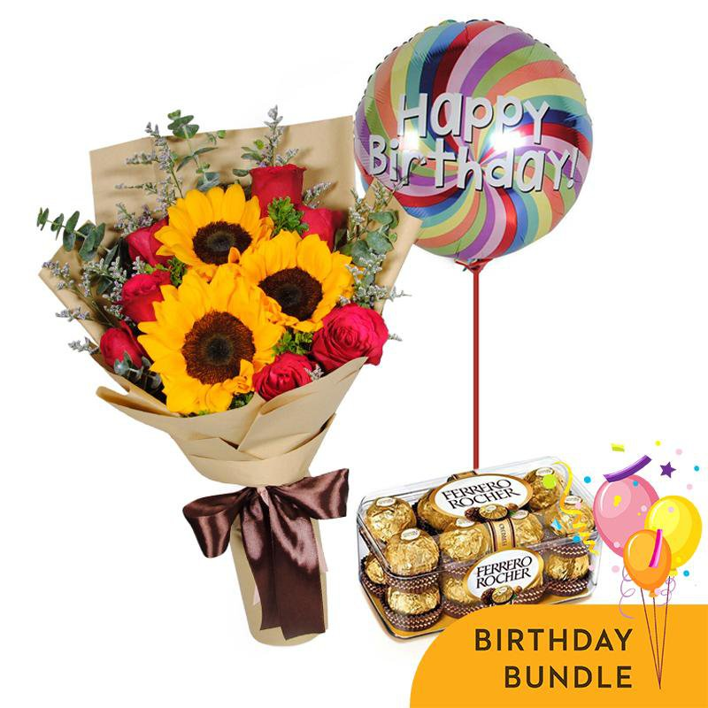 Sunset roses Birthday Bundle
