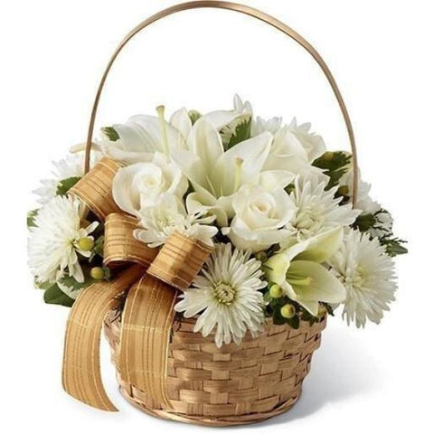 Snow Whites Basket Flowers_Basket