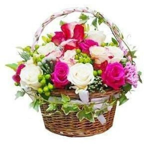 Flower Basket with Roses Pink and White