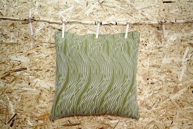 Jungle green cushion with white tree bark design