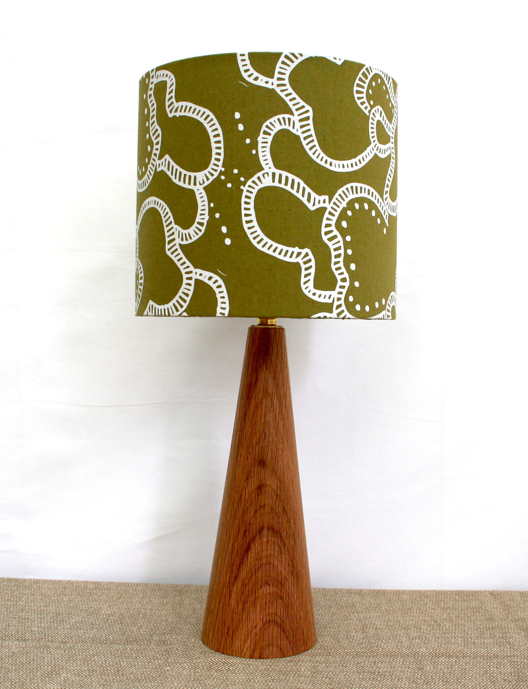 Yamka jungle green lampshade with mushroom print