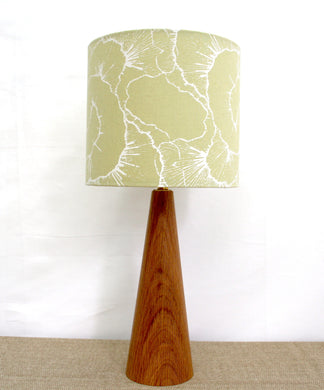 Celery green lampshade with white mushroom design