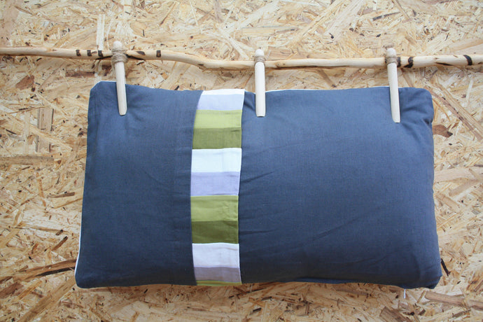 Yamka small slate grey cushion - Layers of the earth