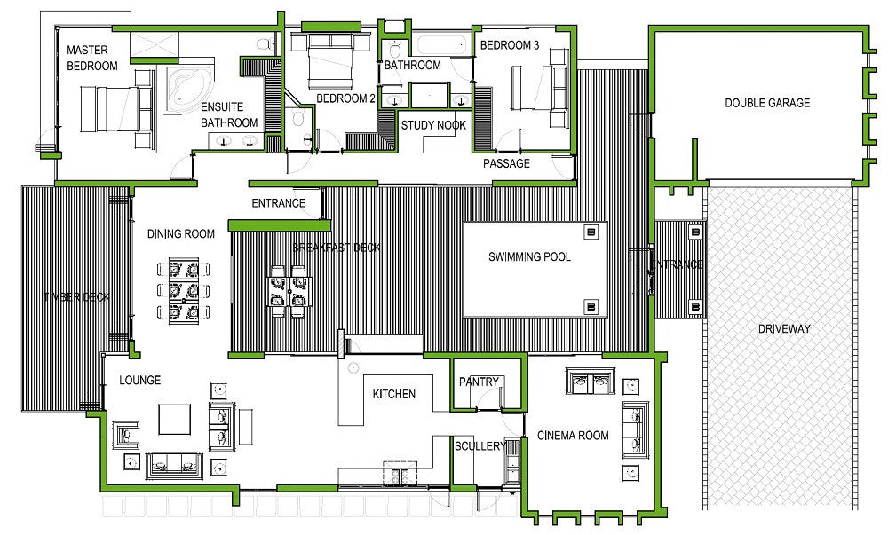 3 Bedroom Bali Style House Plan