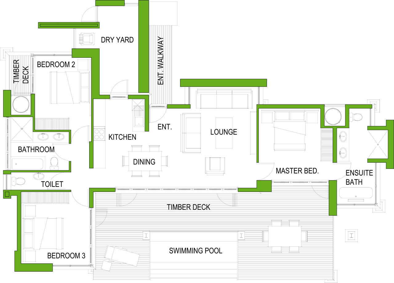 3 Bedroom House Plans For Use In Shared Housing Or Student Accomodation