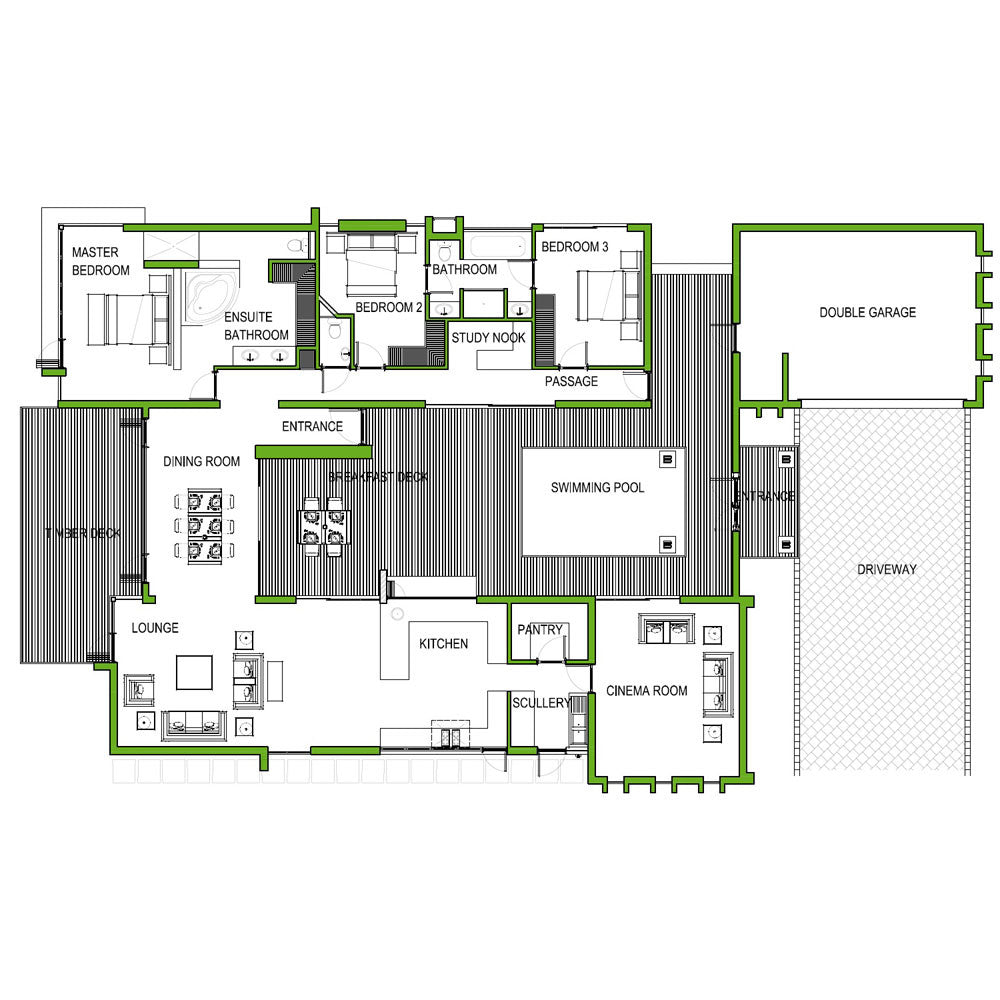 3 Bedroom 273m2  FLOOR PLAN ONLY. HOUSE PLANS HQ   South African home designs   HousePlansHQ