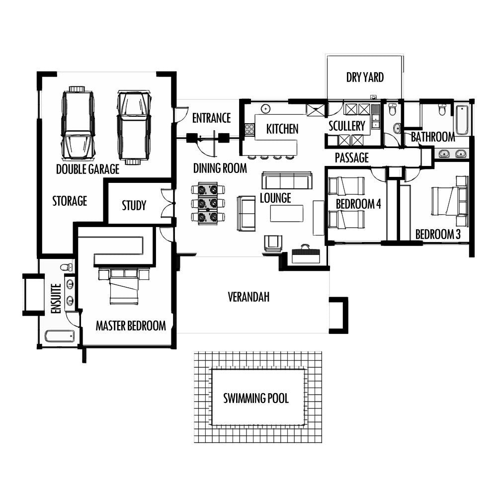 3 bedroom 285m2 floor plan only houseplanshq for Free single family home floor plans