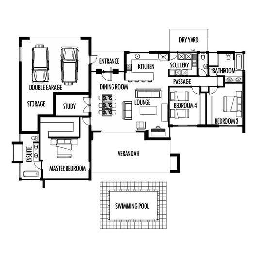 Sample Kitchen Floor Plans: 3 Bedroom 285m2 [FLOOR PLAN ONLY]