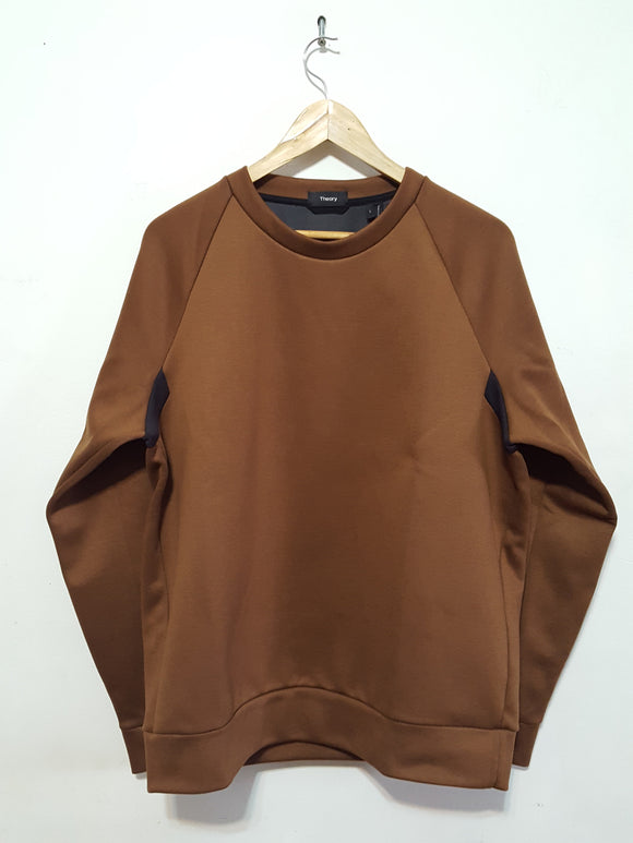 Mens Theory Brence Tecknit Sweatshirt, Brown sz. M, L