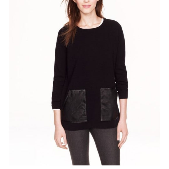 J.Crew Merino Leather Pocket Sweater Black size  XS