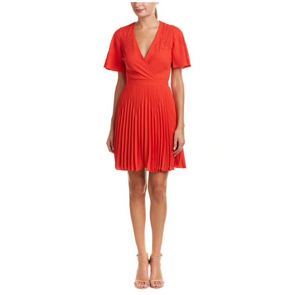 Karen Millen Pleated Laser Cut Dress  Size 8