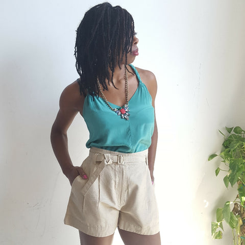 Marc Jacobs Raw Silk Shorts Natural Wells Resale and Co Designer Secondhand Fashion