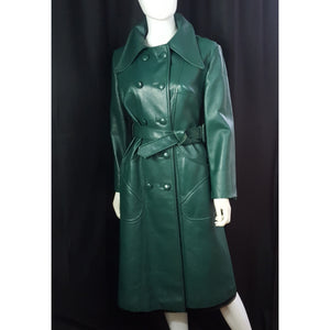 Vintage Vegan Leather Trenchcoat, Kelly Green size M