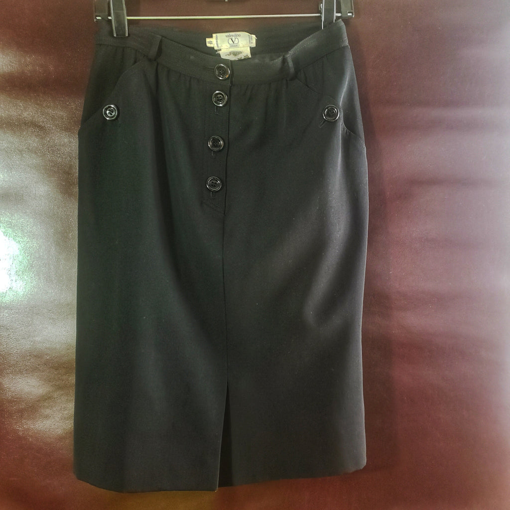 Valentino Miss V Vintage  Wool Pencil Skirt Size 10