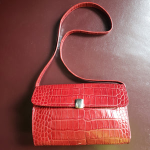 Ralph Lauren Faux Croc Shoulder Bag