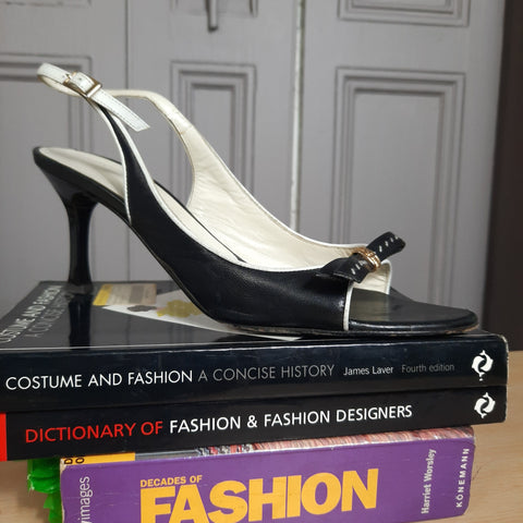 St. John Open Toe Heels  Black and White Shoes Size 7 1/2