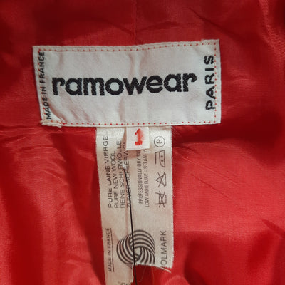 Vintage 1970s Ramowear Paris Red Wool Coat Size Large
