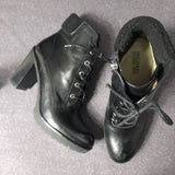 Micheal Kors Black Heel Combat Boot With Rubber Outsole Size 11