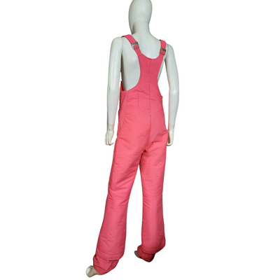 Vintage 1970s Hermans Overall Ski Pant, Pink Snow Pants Size M