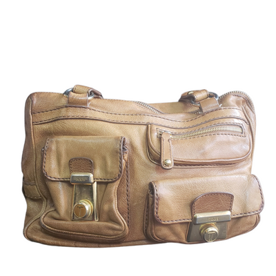 Tod's Camel Leather Took Tracolla Media Bag