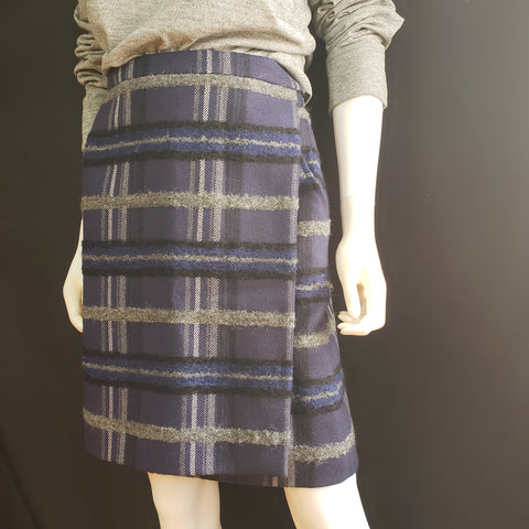 AKRIS Punto Blue and Grey Plaid Wrap Skirt Size 8