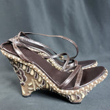 Rare Gucci Structural Wedge Leather Embroidered Sandals Size 5
