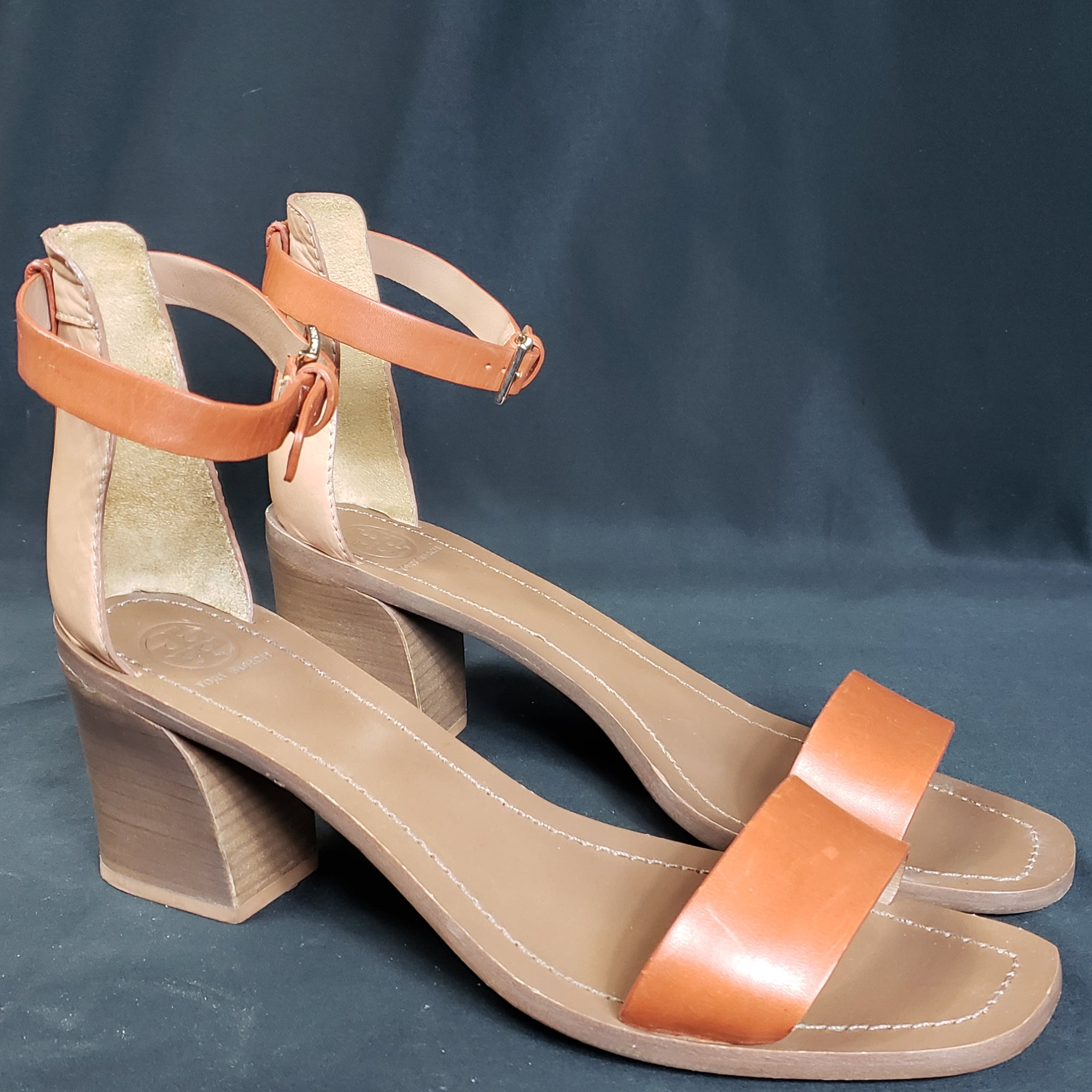 Tory Burch Color Block Chunky Heel Ankle Strap Sandals Size 10