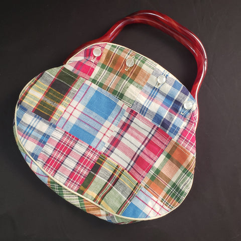 Vintage Plaid Purse with Tortoise Bakelight Handle