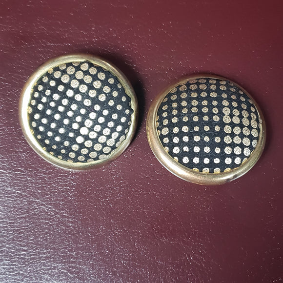 Vintage Metallic Polka Dot Clip-on Button Earrings