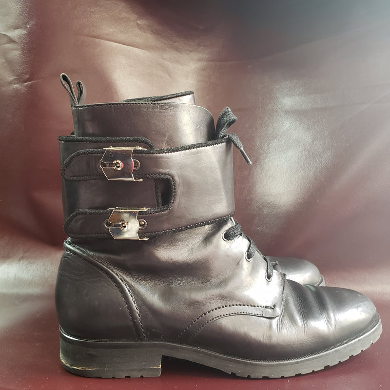 IRO Nels Black Leather Combat Boot Size 41