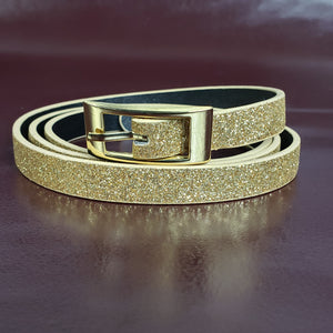 Skinny Gold Glitter Belt Size XL