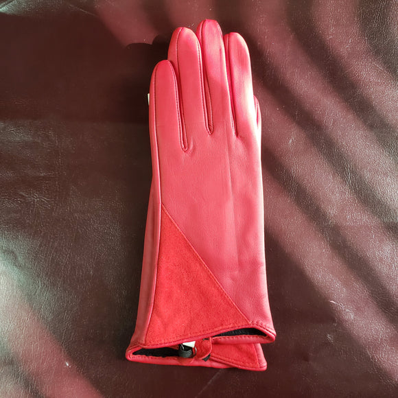 Numph Red Leather Filomena Gloves Size Small