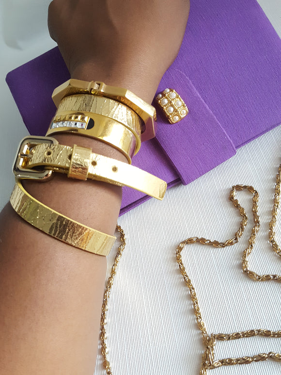 Roma Design Foil Gold Leather Wrap Braclet