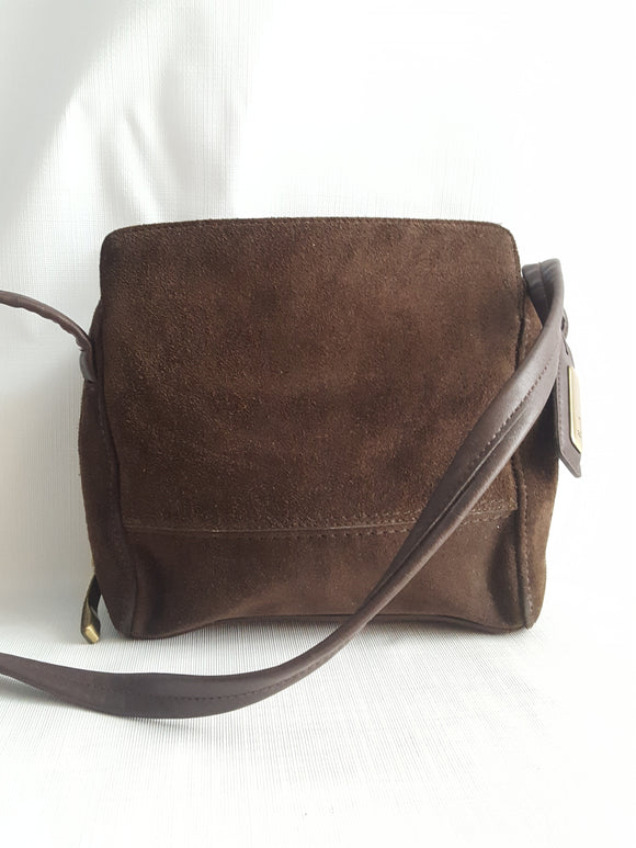 Leather Co. By Liz Claiborne Brown Suede Crossbody
