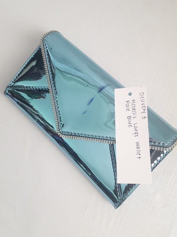 Rebecca Minkoff Large Metallic Pale Blue Wallet