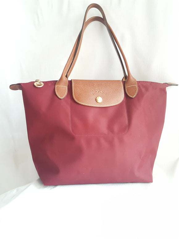 Longchamp Small Le' Pliage Shoulder Tote In Burgandy